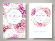 Peony tulip banners. Vector botanical banners with pink peony and white tulip flowers on white background. Romantic design for natural cosmetics, perfume, women Royalty Free Stock Images