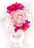 Peony Valentine`s Day greeting card stock illustration
