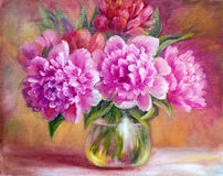Peony in vase, oil painting. On canvas Stock Photo