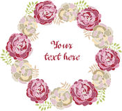 Peony vector decorative frame for the text. Floral boarder for greeting cards Royalty Free Stock Photography