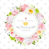Peony, wild rose, orchid, carnation, camellia, hydrangea, blue berries and green leaves vector design round card. Royalty Free Stock Photography