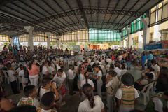 Peope at the environmental rally in Lago Agrio Ecuador. June 5, 2017 Lago Agrio, Ecuador: environmental rally in the centre of the oil production town affected Royalty Free Stock Photos