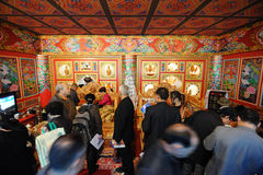 Peopel visit tibetan house Stock Photo