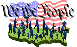 We-people_01. Graphic depicting a USA map with silhouette people over the words: We the People and the American flag (concept: Democracy or 4th of July stock illustration