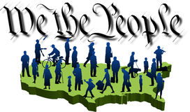 We-people_02. Graphic depicting a USA map with silhouette people over the words: We the People (concept: 4th of July or Democracy Royalty Free Illustration