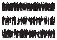 People. Three sets of groups of people silhouettes Stock Images