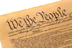 We The People.... Close-up of the U.S. Constitution Stock Photography