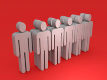 People. Abstract people figures standing in 2 rows Royalty Free Stock Photography