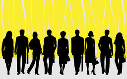 People. Illustration of people, yellow, black Stock Photos