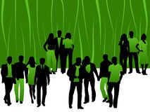 People. Illustration of people, green, black, shadows Royalty Free Stock Images