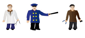 People. Doctor hold stethoscope, policeman hold baton, photographer hold a tape and a camera royalty free illustration