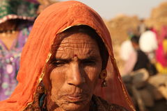 People at Abandoned Village in Rajasthan India Royalty Free Stock Image