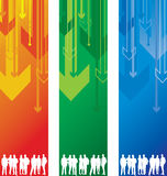 People on an abstract arrow background Stock Photos