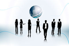 People. On the abstract globe background Royalty Free Stock Photo
