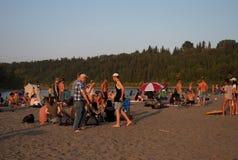 People At Accidental Beach Edmonton Alberta. People enjoying accidental beach in early September 2017 Edmonton Alberta stock photos