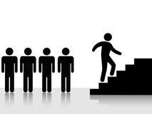 People Achieve Climb Up Stairs. A person - group lieader - climbs stairs toward a goal: symbol of progress, ambition, promotion, achievement vector illustration