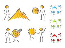 People achievements icons scribble. People icons in scribble style symbolizing achievements. Different color scheme stock illustration