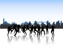 People in action and city Stock Photo