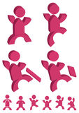 People Action Icon_eps. Illustration of pink color people action icon on white background Royalty Free Stock Images