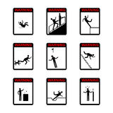 People in action Warning Hazard Signs Stock Photos