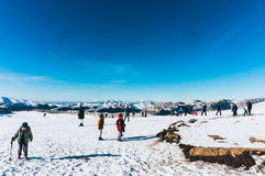 People active in snow in Sinaia, Romania Royalty Free Stock Photography