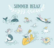 People Actively Relax, Swim in the Sea. Summer Sea Vacation Illustration. Royalty Free Stock Image