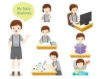 The Daily Routines Of Boy. People Activities Habit Lifestyle Leisure Hobby Avocation Stock Images