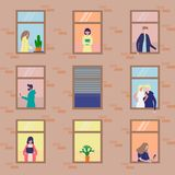 People activity in apartment vector illustration