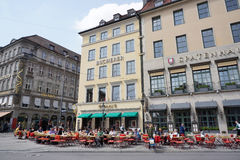People activity around Odeonsplatz with beautiful building Royalty Free Stock Photography