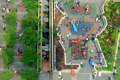 People activity in city park. Seen from top, located in bandung, Indonesia Stock Photos