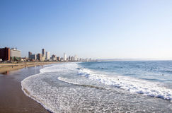 People on Addington Beach Against Durban City Skyline Royalty Free Stock Photo