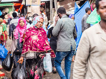 People at Addis Mercato in Addis Abeba, Ethiopia, the largest ma Royalty Free Stock Image