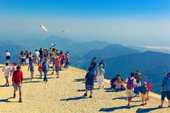 People admire the beauty of Taurus mountains and mediterranean coastal landscape Stock Photo