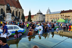 People admire the race cars at the Transilvania Rally 2016 Cluj-Napoca Royalty Free Stock Photography