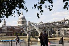 People Admiring Millenium Bridge From London UK