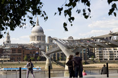 People admiring millenium bridge from London UK Royalty Free Stock Photography