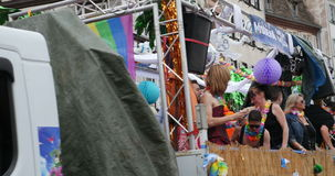 People admiring from Place Kleber Gay Pride stock video