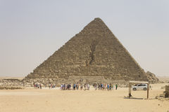 People admiring Pyramid of Menkaure Royalty Free Stock Images