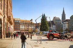 People admiring the Strasbourg Christmas Tree installation stock photography