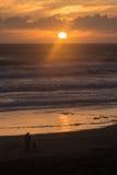 People admiring sunset at Muriwai Stock Photography