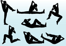 People aerobic poses. Woman aerobic exercising vector silhouettes Stock Images