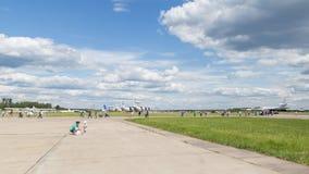 People on aerodrome Kubinka Royalty Free Stock Photo