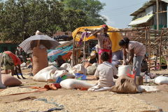 People at the African Market of Moyale in Ethiopia,. 17. October 2012 Royalty Free Stock Photos