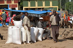 People at the African Market of Moyale in Ethiopia,. 17. October 2012 Royalty Free Stock Images