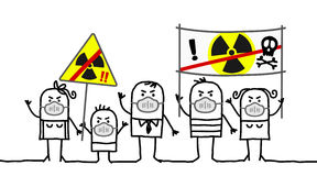 People against nuclear power. Hand drawn cartoon characters - people against nuclear power Stock Image
