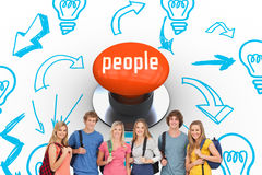 People against orange push button Royalty Free Stock Images