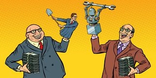 People Against Robots War For The Workplace. Manipulation Of Politicians Stock Image
