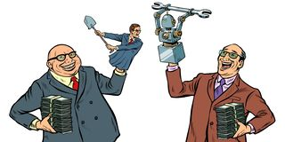 People against robots war for the workplace. Manipulation of politicians isolate on white background vector illustration