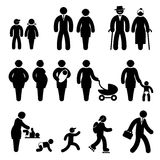 People age icons. Set black and white vector icons of people age Stock Image