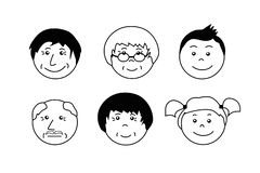 People ages icons. Grandmother, grandfather, boy and girl face. stock illustration